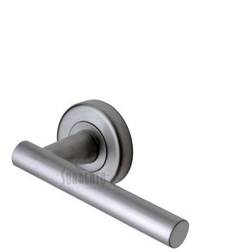 Sorrento Shuttle Door Handles On Round Rose, Satin Chrome - SC-3052-SC (sold in pairs)