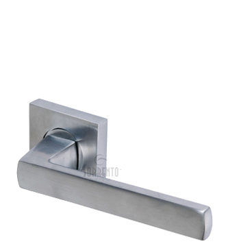 Sorrento Axis Door Handles On Square Rose, Satin Chrome - SC-4062-SC (sold in pairs)