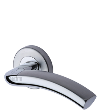 Sorrento Como Door Handles On Round Rose, Apollo Finish - Satin Chrome & Polished Chrome - SC-4582-AP (sold in pairs)