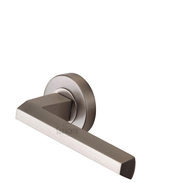 Sorrento Deda Door Handles On Round Rose, Satin Nickel - SC-4754-SN (sold in pairs)