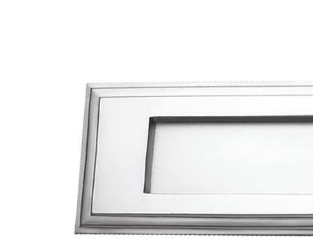 Prima Stepped Horizontal Shaped Edwardian Letter Plates, Satin Chrome - SCP10