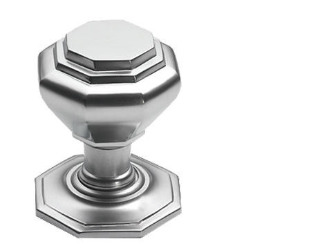 Prima Octagonal Centre Door Knobs (60mm Or 67mm), Satin Chrome - SCP15