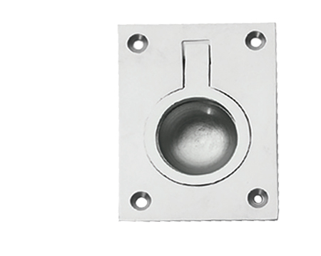 Prima Rectangular Flush Ring (54mm x 38mm OR 67mm x 50mm), Satin Chrome - SCP160