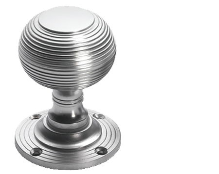 Prima 'Queen Anne' Reeded Mortice Door Knobs, Half Sprung, Satin Chrome - SCP96