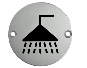 Eurospec 'Shower Symbol' Sign, Polished Stainless Steel OR Satin Stainless Steel Finish - SEX1014
