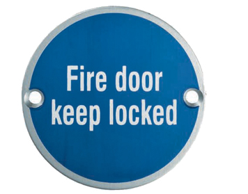 Eurospec 'Fire Door Keep Locked' Sign, Polished Stainless Steel OR Satin Stainless Steel Finish - SEX1015
