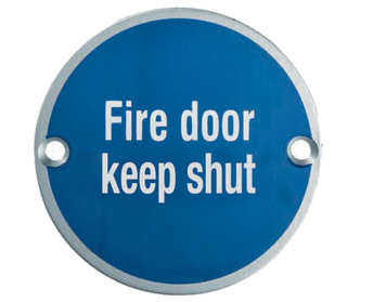 Eurospec 'Fire Door Keep Shut' Sign, Polished Stainless Steel OR Satin Stainless Steel Finish - SEX1016