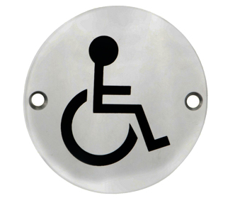 Eurospec 'Disabled Symbol' Sign, Polished Stainless Steel OR Satin Stainless Steel Finish - SEX1017