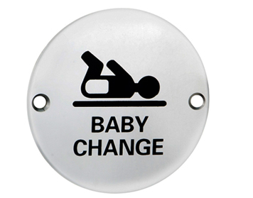 Eurospec 'Baby Change Symbol' Sign, Polished Stainless Steel OR Satin Stainless Steel Finish - SEX1019