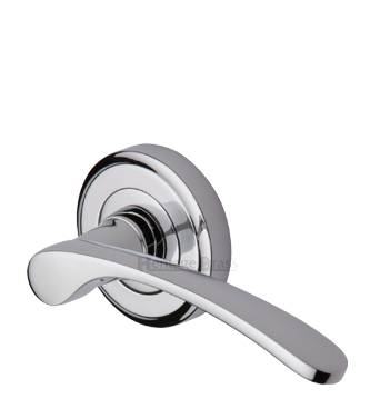 Heritage Brass 'Sophia' Polished Chrome Door Handles On Round Rose - V1900-PC (sold in pairs)