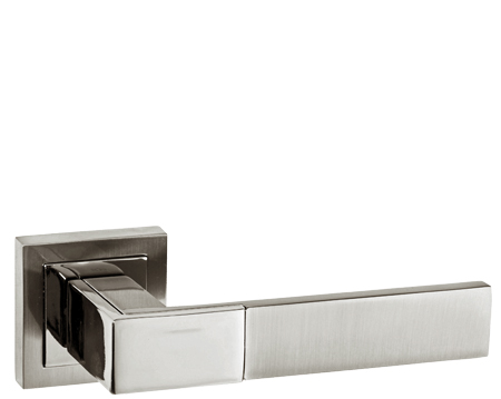 Atlantic Senza Pari 'Casalli' Dual Finish Polished Nickel & Satin Nickel Door Handles - SPC-231-SNNP (sold in pairs)
