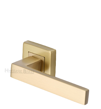 Heritage Brass 'Delta SQ' Satin Brass Door Handles On Square Rose - SQ5420-SB (sold in pairs)