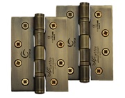 M Marcus 4 Inch Stainless Steel Line Ball Bearing Hinge, Antique Brass - SS-4X3-AT (sold in pairs)