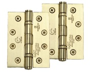 M Marcus 4 Inch Stainless Steel Line Ball Bearing Hinge, Satin Brass - SS-4X3-SB (sold in pairs)