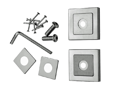 Eurospec Square Rose Packs, 8mm x 52mm, Duo Finish Polished & Satin Stainless Steel - SSR1405SSS/DUO