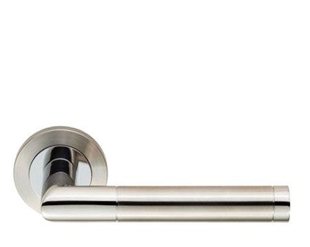 Eurospec Treviri Satin Stainless Steel Or Dual Finish Polished & Satin Stainless Steel Door Handles - SWL1192 (sold in pairs)