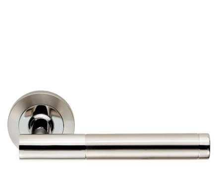 Eurospec Philadelphia Satin Stainless Steel Or Dual Finish Polished & Satin Stainless Steel Door Handles - SWL1194 (sold in pairs)