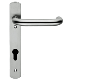 Eurospec Safety Lever Narrow Plate, 92mm c/c, Euro Lock, Stainless Steel Door Handles - SWNP11/92SSS (sold in pairs)