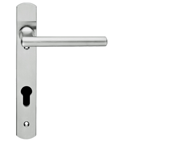 Eurospec Designer Straight Lever Narrow Plate, 92mm c/c, Euro Lock, Stainless Steel Door Handles - SWNP120/92SSS (sold in pairs)