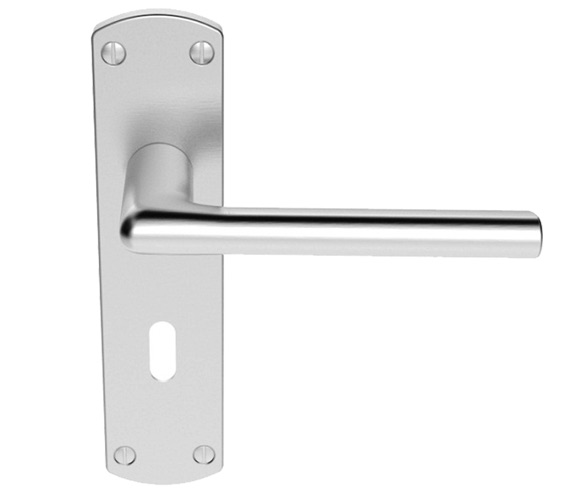Carlisle Brass Serozzetta Uno Door Handles On Backplate, Satin Chrome - SZC011SC (sold in pairs) Clearance