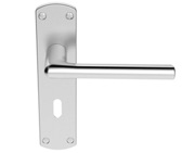 Carlisle Brass Serozzetta Uno Door Handles On Backplate, Satin Chrome - SZC011SC (sold in pairs)