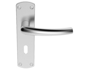 Carlisle Brass Serozzetta Dos Door Handles On Backplate, Satin Chrome - SZC021SC (sold in pairs)
