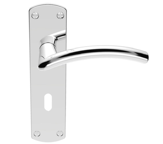 Carlisle Brass Serozzetta Tres Door Handles On Backplate, Polished Chrome - SZC031CP (sold in pairs) Clearance