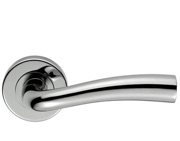 Carlisle Brass Serozzetta Cinco Door Handles On Round Rose, Satin Chrome Or Polished Chrome - SZC050 (sold in pairs)