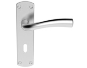 Carlisle Brass Serozzetta Cinco Door Handles On Backplate, Satin Chrome - SZC051SC (sold in pairs)