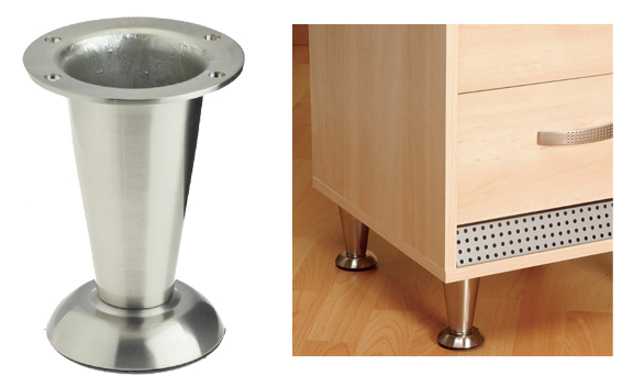 Furniture Legs Brushed Nickel rothley straight furniture legs, 103mm-113mm, polished chrome or
