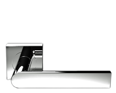 Serozzetta Edge On Square Rose, Polished Chrome Door Handles   SZM210SQCP  (sold In Pairs