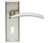 Carlisle Brass Serozzetta Residential Trenta Door Handles On Backplate, Satin Nickel - SZR031SN (sold in pairs)