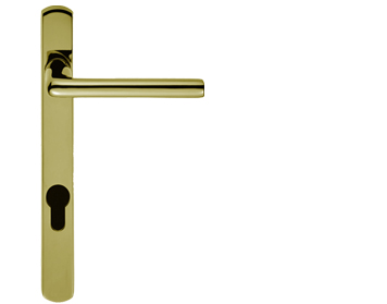 Carlisle Brass Rosa Narrow Plate, 92mm C/C, Euro Lock, PVD Stainless Brass Door Handles - SZS01NP92PVD (sold in pairs)