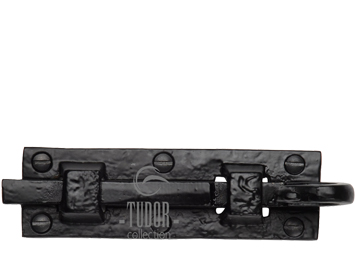 M Marcus Tudor Collection Straight Door Bolt (76mm OR 102mm), Rustic Black Iron - TC158