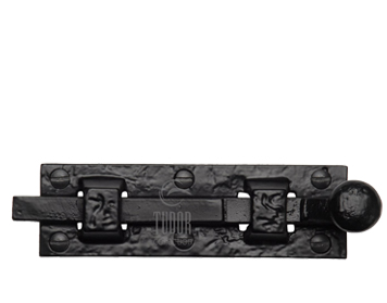 M Marcus Tudor Collection Straight Door Bolt (76mm OR 102mm), Rustic Black Iron - TC168