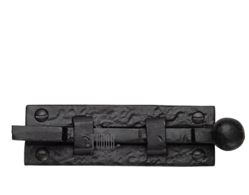 M Marcus Tudor Collection Necked Door Bolt (76mm OR 102mm), Rustic Black Iron - TC169