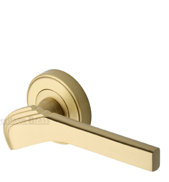Heritage Brass 'Tiffany' Art Deco Style Door Handles On Round Rose, Satin Brass - TIF1926-SB (sold in pairs)