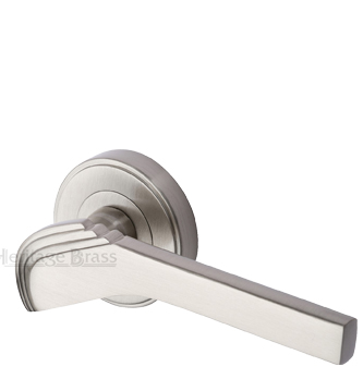 Heritage Brass 'Tiffany' Art Deco Style Door Handles On Round Rose, Satin Nickel - TIF1926-SN (sold in pairs)