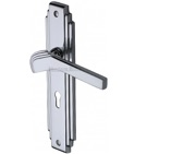 Heritage Brass Tiffany Art Deco Style Door Handles, Polished Chrome - TIF5200-PC (sold in pairs)