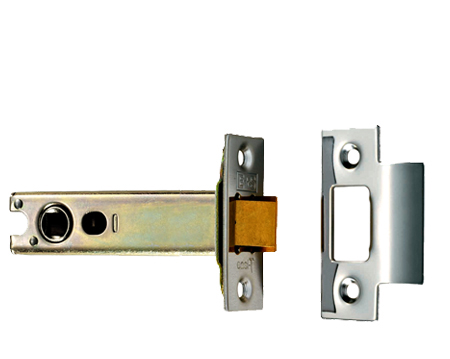 Eurospec 'Double Sprung 4 Inch' Tubular Latches (Bolt Through) - Silver Or Brass Finish - TLS5040