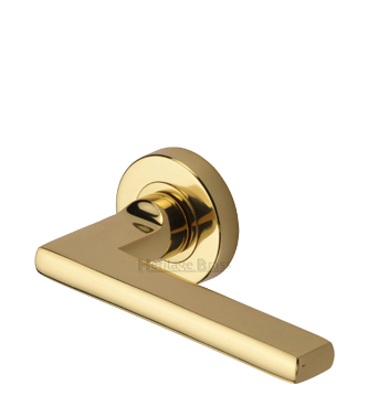 Heritage Brass 'Trident' Polished Brass Door Handles On Round Rose - TRI1352-PB (sold in pairs)