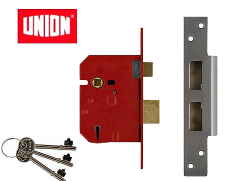 Union 'Insurance Rated' 5 Lever Sash Locks - Silver Or Brass Finish - UNION 2234E