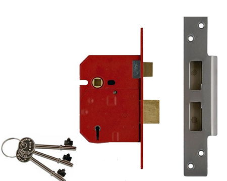 Union Insurance Rated 5 Lever Sash Locks - Silver Or Brass