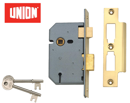 Union 3 Lever Mortice Sash Lock, Satin Chrome Or Brass Finish - UNION2277