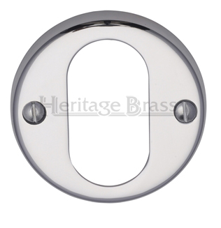 Heritage Brass 'Oval Profile' Key Escutcheon, Polished Chrome - V1013-PC