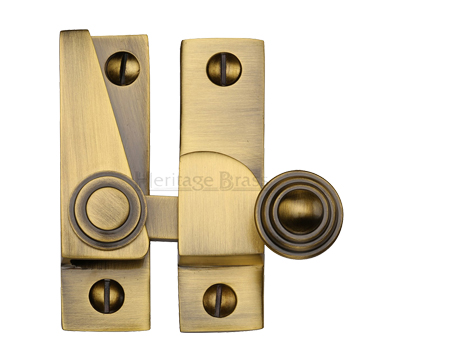 Heritage Brass Hook Plate Sash Fastener (69mm x 20mm), Antique Brass - V1104-AT