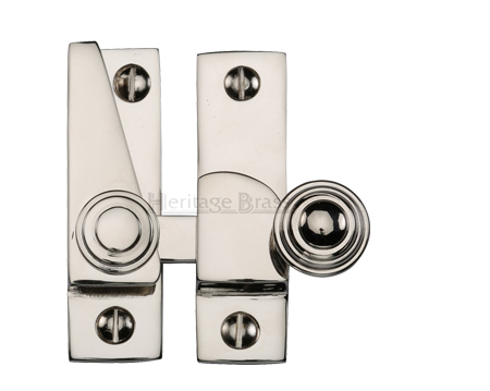 Heritage Brass Hook Plate Sash Fastener (69mm x 20mm), Polished Nickel - V1104-PNF