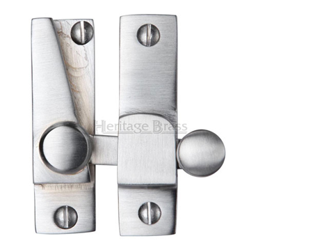Heritage Brass Hook Plate Sash Fastener (69mm x 20mm), Satin Chrome - V1105-SC