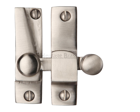 Heritage Brass Hook Plate Sash Fastener (69mm x 20mm), Satin Nickel - V1105-SN
