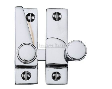 Heritage Brass Hook Plate Sash Fastener (69mm x 20mm), Polished Chrome - V1106-PC